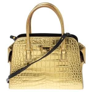 Michael Kors Metallic Gold Croc Embossed Leather Gia Satchel