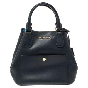 Michael Kors Navy Blue Leather Front Pocket Tote