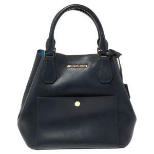 حقيبة مايكل كورس بجيب الأمامي جلد أزرق كحلي