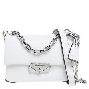 Michael Kors White Leather Extra Small Cece Top Handle Bag