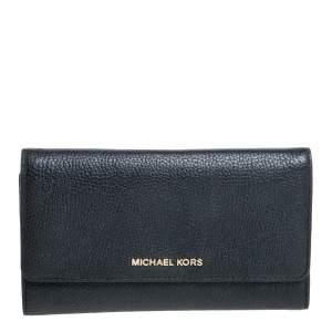 Michael Kors Black Leather Jet Set Tri Fold Continental Wallet
