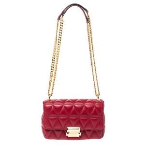 Michael Kors Red Matalesse Leather Small Sloan Shoulder Bag