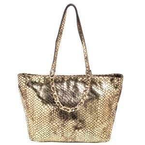 حقيبة يد مايكل كورس جلد نقشة الثعبان ذهبي ميتاليك