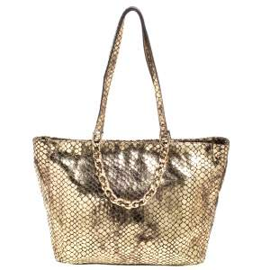Michael Kors Metallic Gold Snakeskin Effect Leather Tote