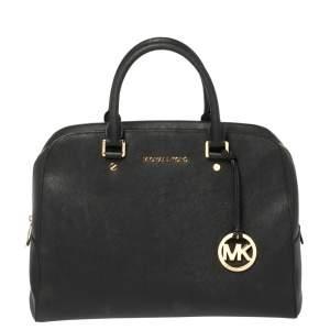 MICHAEL Micheal Kors Black Leather Cindy Dome Satchel