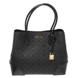 Michael Kors Black Perforated Leather Mercer Tote