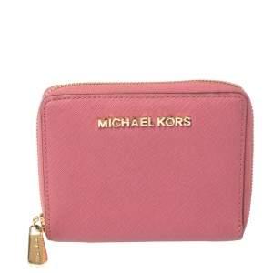 Michael Kors Fuchsia Leather Zip Around Wallet