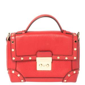 Michael Kors Red Leather Cori Top Handle Bag