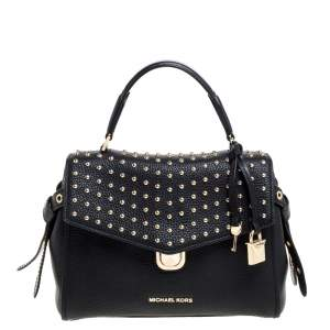 Michael Kors Black Leather Studded Top Handle Bag