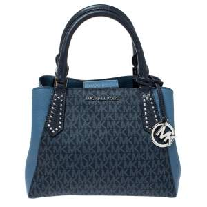 Michael Kors Two Tone Blue Signature Coated Canvas and Leather Kimberly Studded Satchel