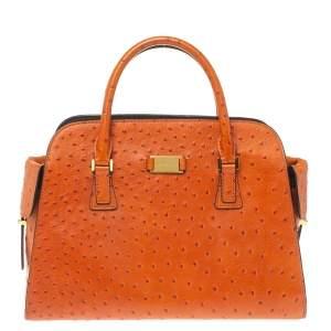 Michael Kors Orange Embossed Ostrich Leather Gia Satchel
