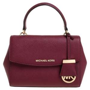Michael Kors Burgundy Leather Small Ava Top Handle Bag