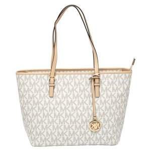 Michael Kors White/Beige Coated Canvas and Leather Medium Jet Set Tote