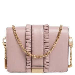 Michael Kors Powder Pink Leather Jade Ruffle Shoulder Bag
