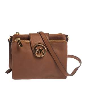 Michael Kors Tan Leather Fulton Crossbody Bag