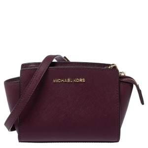 Michael Kors Purple Leather Mini Selma Crossbody Bag