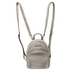 Michael Kors Grey Leather Abbey Studded Backpack