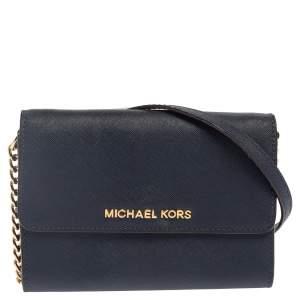 Michael Kors Navy Blue Leather Jet Set Crossbody Bag