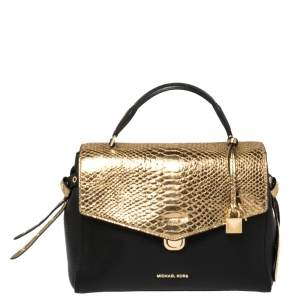 Michael Kors Black/Gold Leather and Snakeskin Embossed Leather Medium Bristol Top Handle Bag