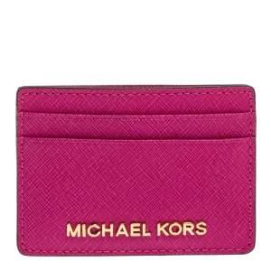 Michael Kors Magenta Leather Jet Set Card Holder