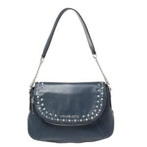 Michael Kors Blue Leather Bedford Aria Shoulder Bag