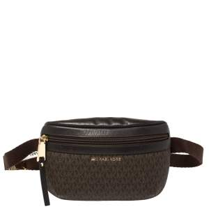Michael Kors Brown Signature Coated Canvas and Leather Fanny Belt Bag