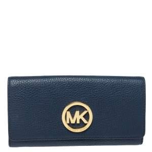 Michael Kors Navy Blue Leather Fulton Flap Continental Wallet