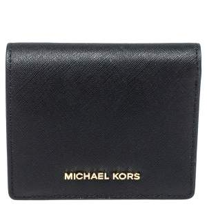 Michael Kors Black Leather Flap Card Holder