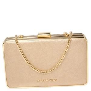 Michael Kors Metallic Gold Leather Elsie Box Chain Clutch