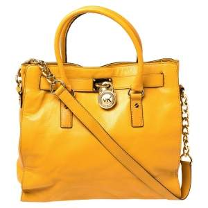 Michael Kors Yellow Leather Large North South Hamilton Tote