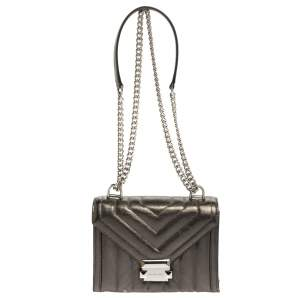 Michael Kors Metallic Grey Quilted Leather Whitney Shoulder Bag