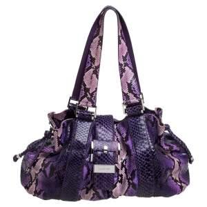 Michael Kors Purple Python Rehearsal Drawstring Shoulder Bag
