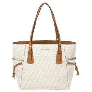 Michael Kors White/Brown Signature Coated Canvas Voyager Tote