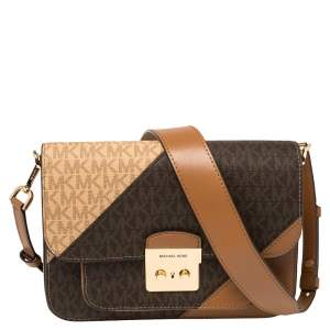 Michael Kors Brown Signature Coated Canvas and Leather Large Sloan Editor Shoulder Bag