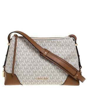 Michael Kors White Signature Coated Canvas and Leather Medium Crosby Messenger Bag