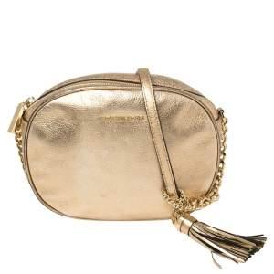 Michael Kors Metallic Gold Leather Crossbody Bag