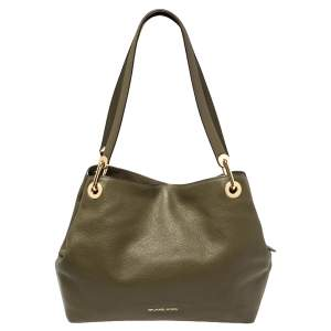 Michael Kors Olive Green Leather Raven Shoulder Bag