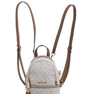 Michael Kors White/Tan Signature Coated Canvas and Leather Mini Rhea Backpack