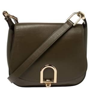 Michael Kors Olive Green Leather Delfina Saddle Bag