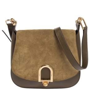 Michael Kors Olive Green Suede and Leather Delfina Saddle Bag
