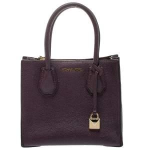 حقيبة يد مايكل كورس ميرسر صغيرة جلد مزخرف أرجواني غامق