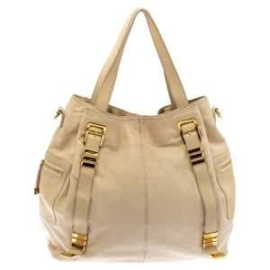 Michael Kors Cream Leather Buckle Side Pocket Shoulder Bag