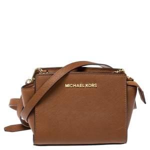 Michael Kors Brown Saffiano Leather Mini Selma Crossbody Bag
