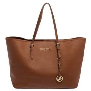 حقيبة يد مايكل كورس جيت سيت ترافيل كبيرة جلد بني
