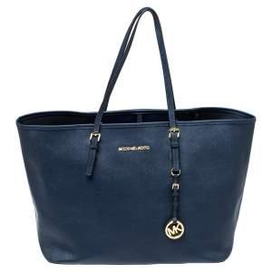حقيبة يد مايكل كورس جيت سيت ترافيل كبيرة جلد أزرق كحلي