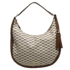 Michael Kors Beige/Brown Coated Canvas and Leather Lauryn Hobo