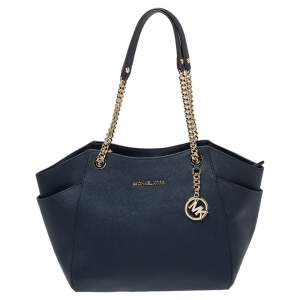 Michael Kors Navy Blue Leather Jet Set Travel Chain Tote