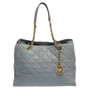 Michael Kors Light Blue Quilted Leather Susannah Tote