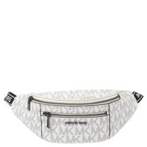 Michael Kors White Monogram Coated Canvas Mott Belt Bag