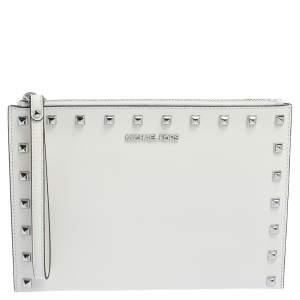 Michael Kors White Saffiano Leather XL Jet Set Travel Wristlet Clutch